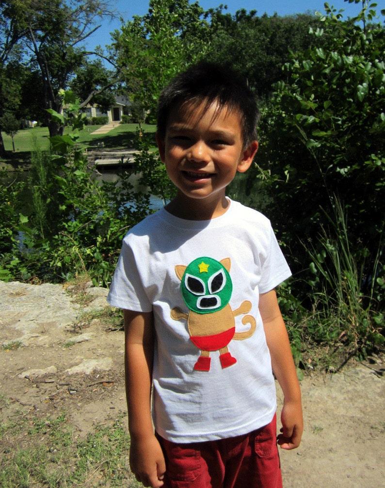 03b8b1f9df45a Kitty Luchador - Mexican Wrestler Cat Kids T-Shirt