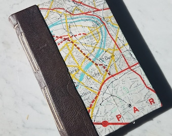 5.5x8.5 in. brown leather and Paris map paper journal, longstitch journal, hand bound blank book, handmade paper pages