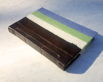 6.25x9.25 in. Brown leather handmade  paper journal, Japanese stab bound journal, hand bound blank book, handmade paper pages