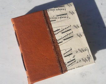 5.5x5.5 brown leather vintage sheet music paper journal, hard cover longstitch journal, handmade pages journal, hand bound blank book