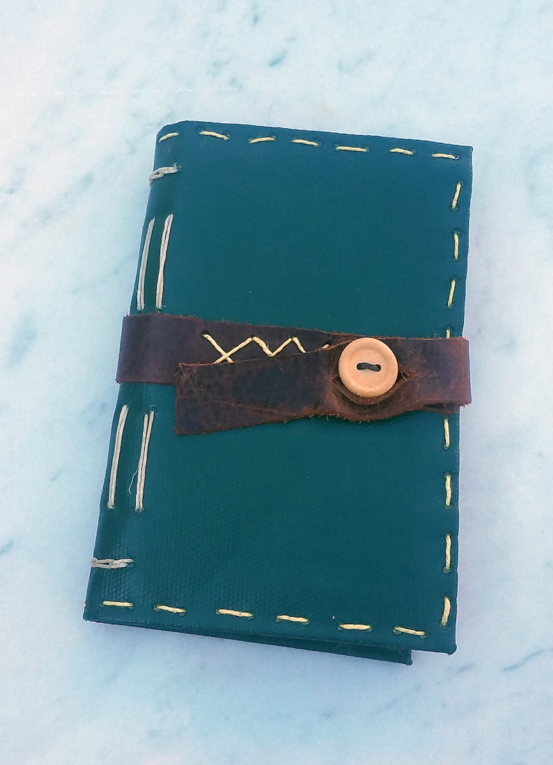 3x5 Long Stitch Vintage Vinyl Cover Journal with Leather image 1