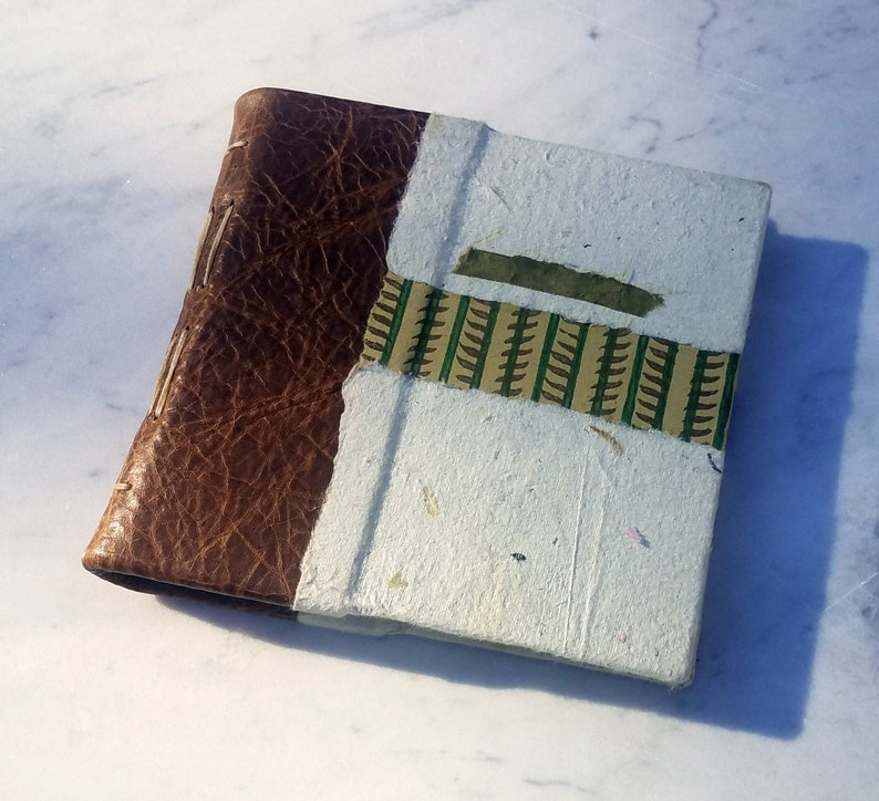 6x6 brown leather decorative paper journal hard cover image 1