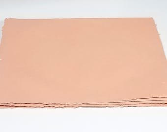 1 sheet - Peach Tone Heavyweight Paper - Mixed fibers - Coarse tooth - Cold press - OVERSTOCK!