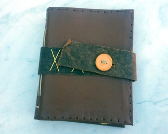 4.5x5.5 in. Long Stitch Vinyl Cover Journal with Leather Closure, longstitch journal, handmade pages journal, hand bound blank book