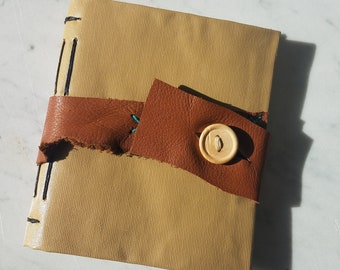 4.75x5.5 in. Long Stitch Vinyl Cover Journal with Leather Closure, longstitch journal, handmade pages journal, hand bound blank book