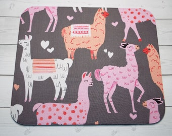 Llama Mouse Pad mousepad / Mat - Rectangle or round - Llamas - coworker gift, teacher gift, desk  accessories cubical decor