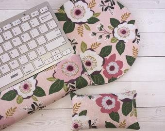 mouse pad wrist rest Keyboard rest set  - Floral flowers - mousepad set coworker gift - graduation office Desk Accessories