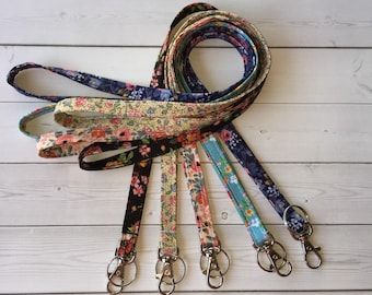 Skinny flowers Lanyard ID Badge Holder - floral  Lobster clasp and key ring New Thinner  Design - vintage inspired flowers tiny flower