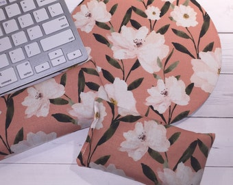 Blossoms floral Keyboard rest and / or WRIST REST for MousePads  - Pick your own pattern - mouse pad set coworker gift Desk Accessories