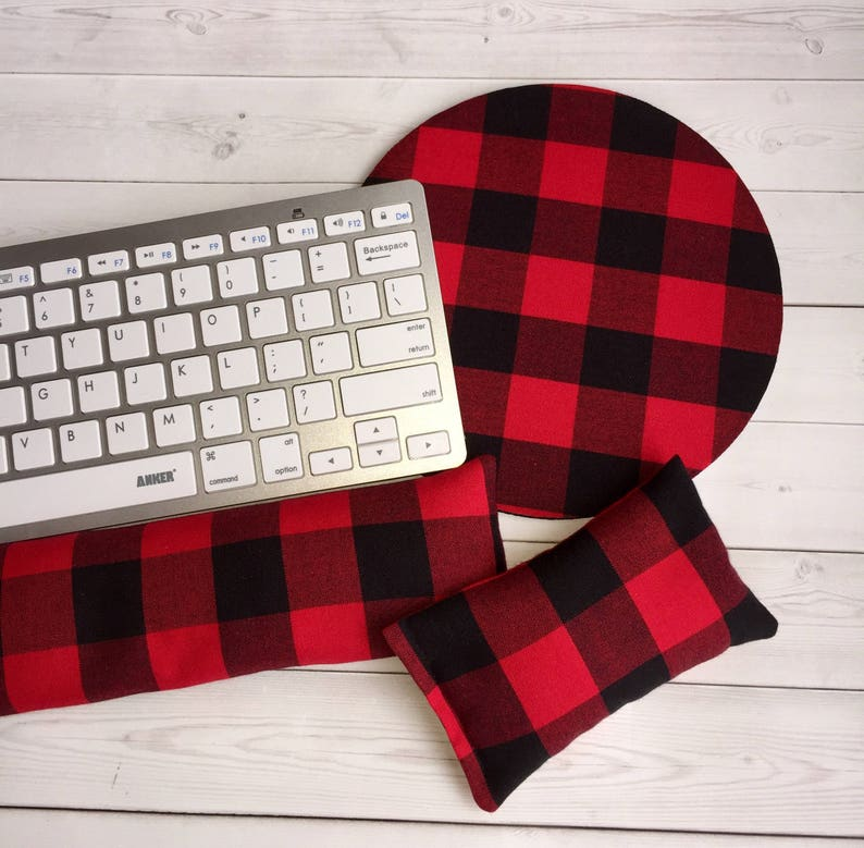 Red black check Keyboard rest and / or WRIST REST for MousePad - red black  plaid lumberjack - mouse pad set coworker gift