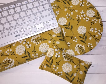mustard Keyboard rest and / or WRIST REST floral MousePad set  - mustard mouse pad set coworker gift - office Desk Accessories