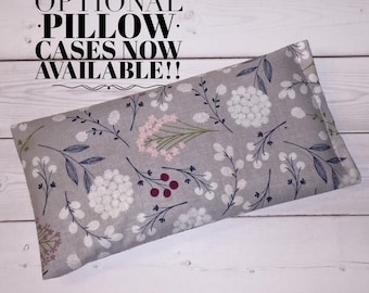 Eye Pillow lavender flax seeds heat pack aromatherapy gray floral yoga mask spa relaxation stress relief eucalyptus peppermint rosemary