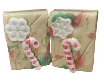 Peppermint Twist Handmade Soap - Christmas Gift Soap - Vegan Soap - Organic Cocoa Butter Soap - Zero Waste Soap
