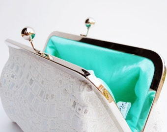 White Wedding Clutch, Minty Green Purse, Bridesmaids Gifts, Personalized Gift