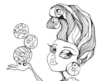 Donuts Coloring Page Donut Pinup Girl Printable Instant Download