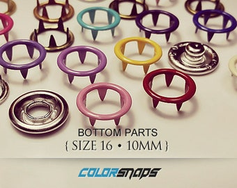 20 COLORS • Coloured Ring Snap • Size 16 • 7/16 • 10mm • Enamel • Fastener • Snaps • No Sew • Prong • Gripper • Press • Popper • Buttons
