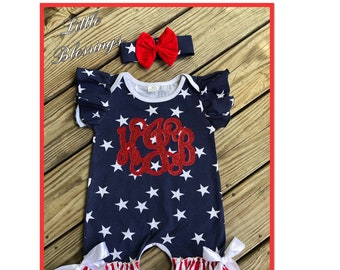 09b0b4a46 4th of July Romper with monogram, July Fourth Baby Clothes, Baby Romper, 4th  of July Romper