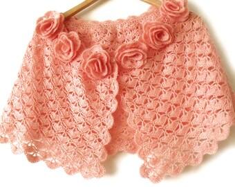 Lace crochet cape Bridal wedding shawl Bridal lace cape Bridal cover up Crochet flower cape Crochet cape shawl Prom cape Pink bridal cape
