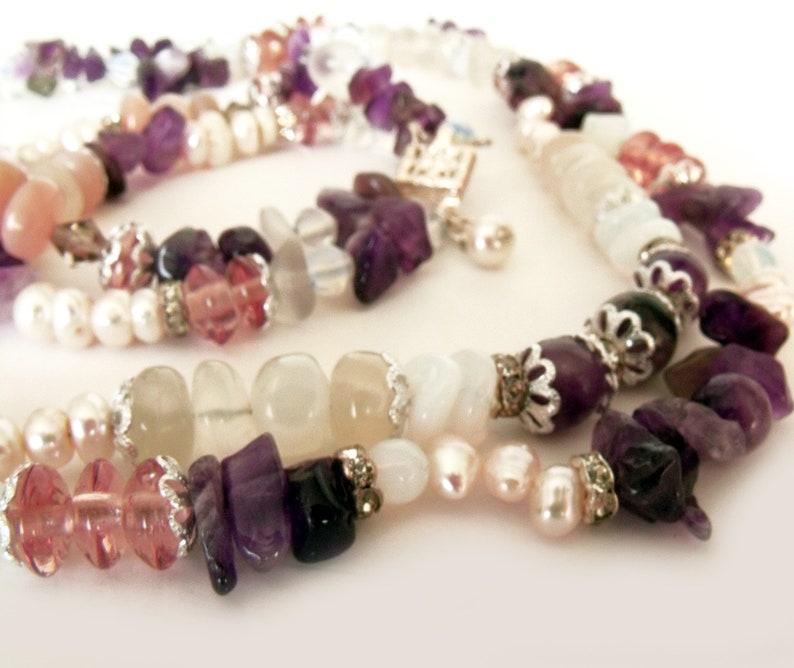 Jewelry set Necklace bracelet set Multi-stones necklace Two strand necklace Two strand bracelet Spring Summer jewelry Multi color stones