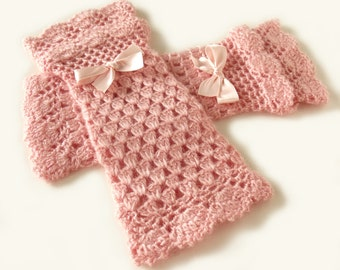 Boho mittens Lace crochet mittens Wedding mittens Fingerless mittens Lolita mitts Victorian mittens Blush pink mitts Autumn winter mittens