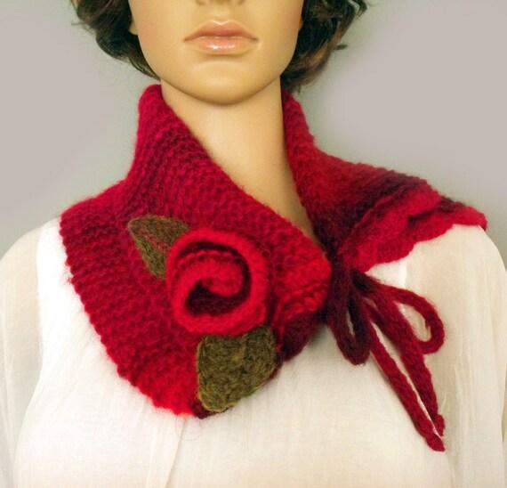 Schal Schal stricken Halswärmer Blume Blatt Schal Schalkragen   Etsy
