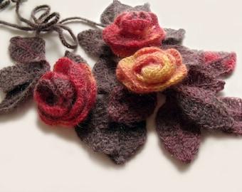 Leaf scarf lariat Freeform crochet scarf Crochet scarf lariat Scarf necklace Flowers leaves scarf Crochet necklace Crochet choker Etsy Gifts