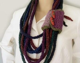 Infinity scarf lariat Boho scarf necklace Wisp bundle scarf Boho lariat necklace Boho gypsy knit scarf Buttoned wrist cuff Wool neckwarmer