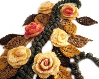 Crochet scarf lariat Flowers leaves scarf Gypsy hippie scarf Boho crochet scarf Freeform lariat Scarf necklace Crochet flowers Art to wear