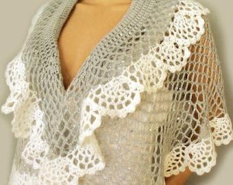 Lace crochet shawl Wedding cape Lace bridal cape Crochet cape stole Ruffle cape poncho Short poncho Crochet poncho cape Victorian cape