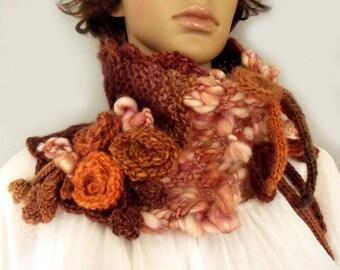 Crochet cowl scarf Crochet collar cowl Scarf neckwarmer Freeform crochet Cowl with flowers Victorian collar Wool scarf Art to wear Gift idea