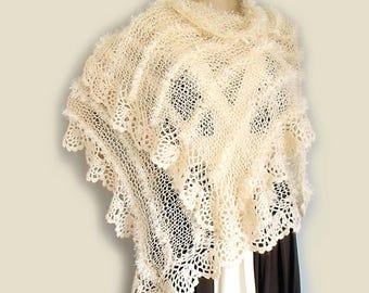 Boho knit shawl Knit crochet scarf Hippie gypsy shawl Prayer shawl Loose knit shawl Wedding shawl wrap Long knit scarf Fall shawl Stole wrap