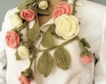 Crochet flower scarf Boho crochet lariat Hippie gypsy scarf Hippie boho headband Crochet flower necklace Crochet leaf scarf Crochet belt