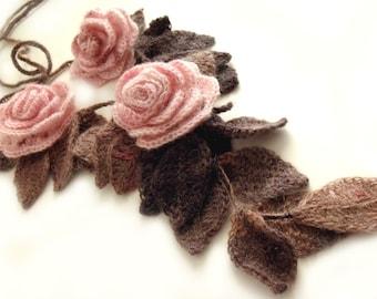 Crochet flower scarf Crochet leaf scarf Flower leaf scarf Crochet scarf lariat Freeform scarf Crochet leaf choker Art to wear Blush pink