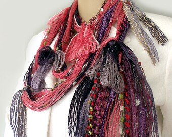 Gypsy hippie scarf, Scarf necklace, Infinity boho scarf, Hippie headband, Fringe tassel scarf, Lariat necklace, Art to wear, Fall scarf