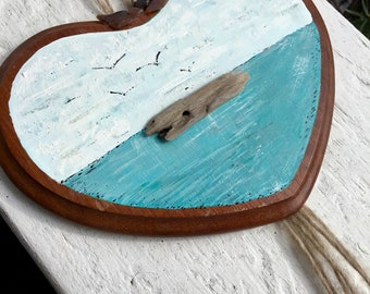 Bohemian Beach Driftwood & Seaglass Wall Hanging Artwork , Nautical Heart , coastal Cottage