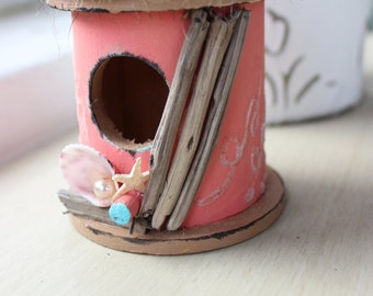 Coral Beach Birdhouse  - a One of a Kind Gift for the Shore Lover , Coastal / Beach Decoration