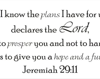 Plans I Have for You - Jeremiah 29:11 Vinyl Wall Decal (B-007)