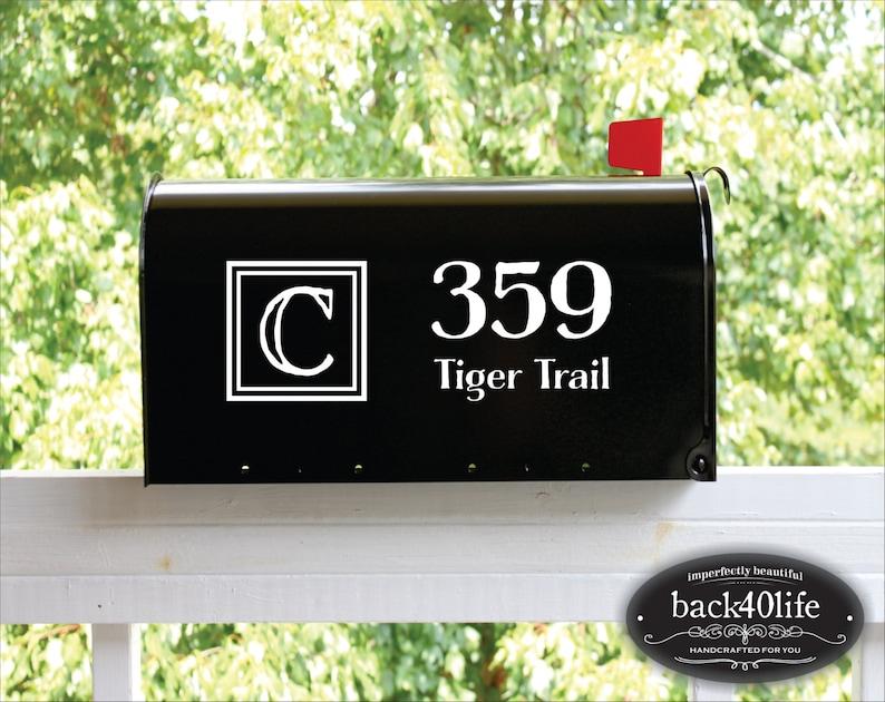 E-004j Back40Life Double Block Mailbox Numbers Street Address Vinyl Decal