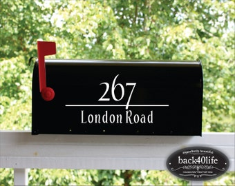 Classic Mailbox Numbers Street Address Vinyl Decal (E-004c) - Back40Life