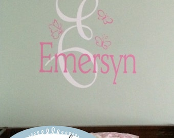Butterfly Monogram and Name Vinyl Wall Decal (K-003)