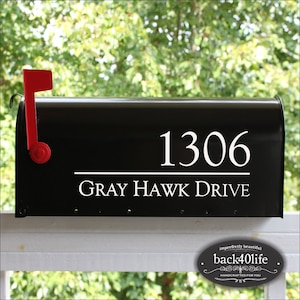 SET OF 2 Mailbox Numbers Custom Mailbox Number and Street Name Sticker