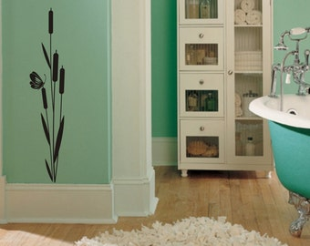 Cattail and Butterfly Vinyl Wall Decal (D-003)
