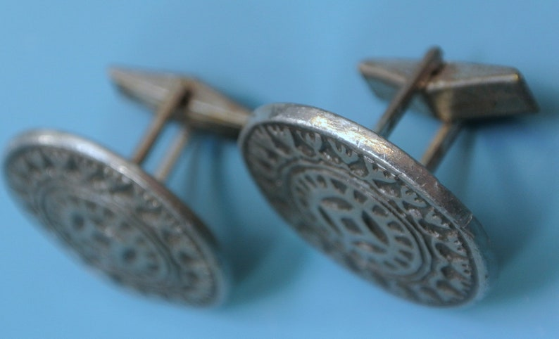 Pair of vintage 1960s round signed SV.T.JW design pewter cufflinks with abstract pattern
