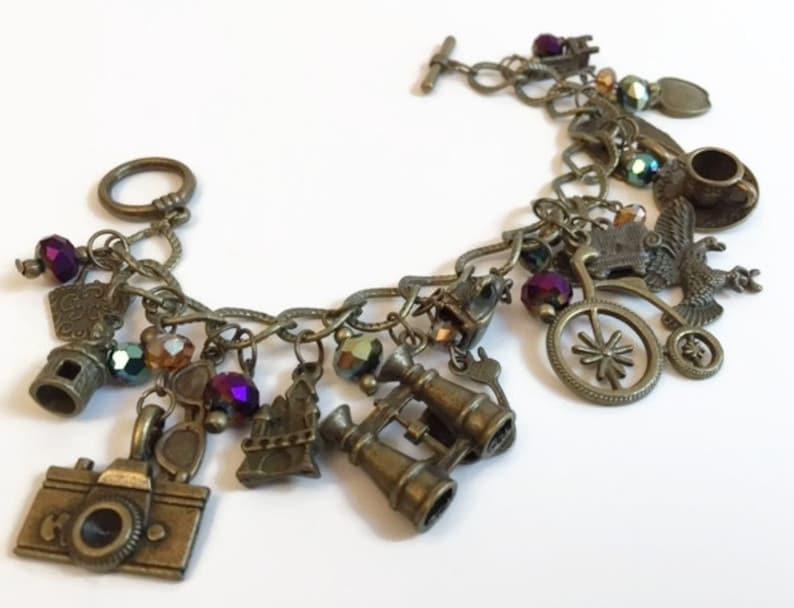 Purple Chunky Unusual Charm Bracelet Bronze