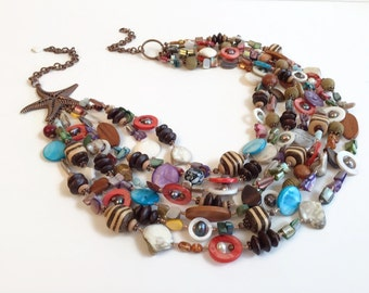 Big Bold Shell Necklace, Multistrand Necklace Bracelet Earring Set, Starfish, Copper, FREE SHIPPING