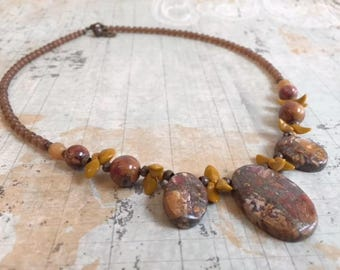 Picasso Jasper and Czech Glass Necklace Earring Set, Brown, Gemstone Necklace, FREE SHIPPING