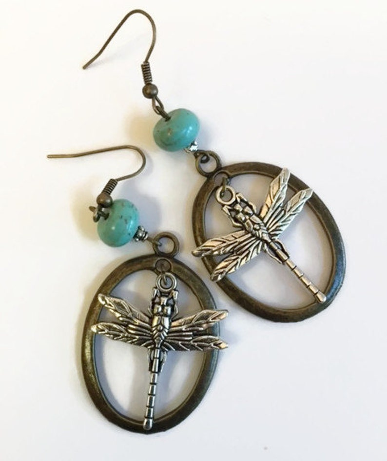 turquoise Blue Vintage Look Statement Earrings Dragonfly Earrings
