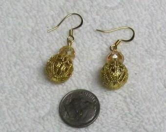 Bronze and Filigree Earrings. Short Earrings. Light Weight. Simple Earrings