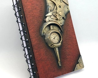 Steampunk Notebook  DIN A6 Metal and Red