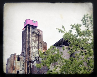 """Montreal photography, urban print, abandoned building, rustic, cityscape, architecture, grey, black - """"The pink house"""""""